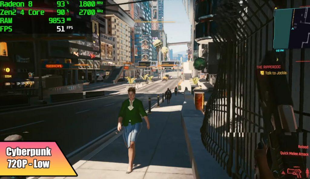 Cyberpunk 2077 rodando em PC parecido com Steam Deck