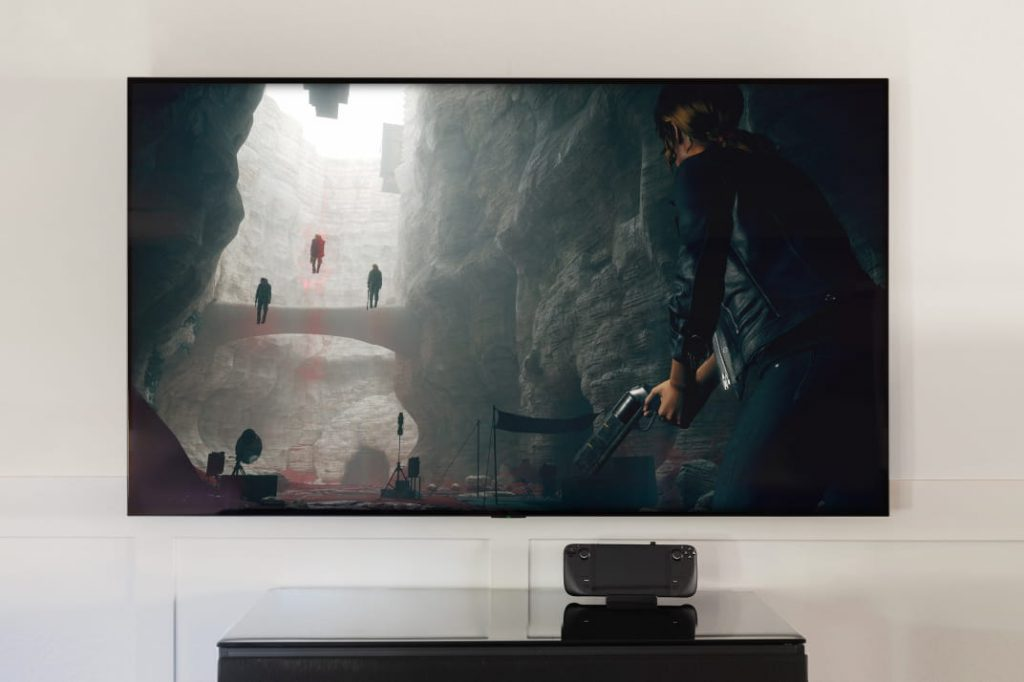 Steam Deck conectado a televisão