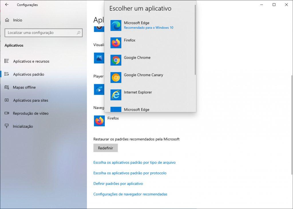 Windows 10 - trocar navegador padrão